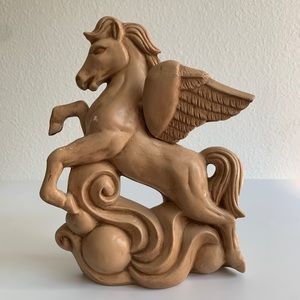 Vintage Ceramic Pegasus Statue Figurine